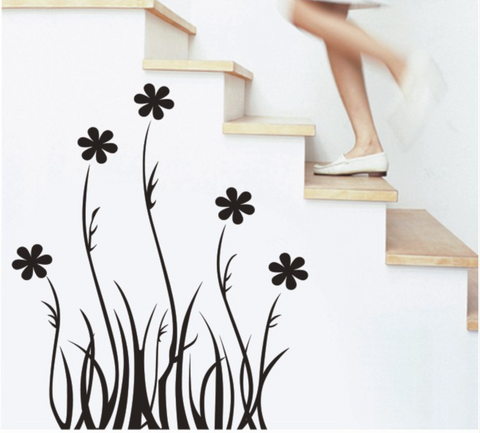 Black Floral HM wall sticker Mural wall decal  Removable wall sticker