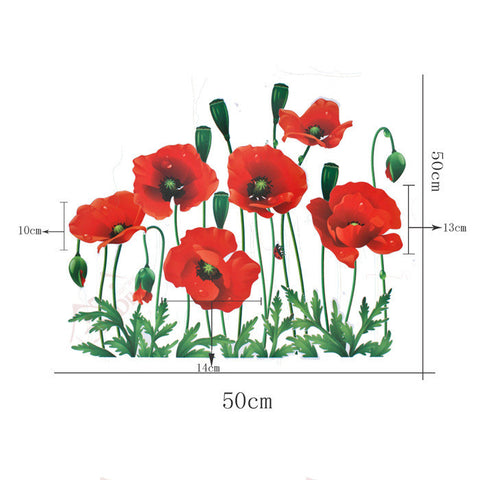 POPPY FLOWER Wall decals Removable Wall Sticker