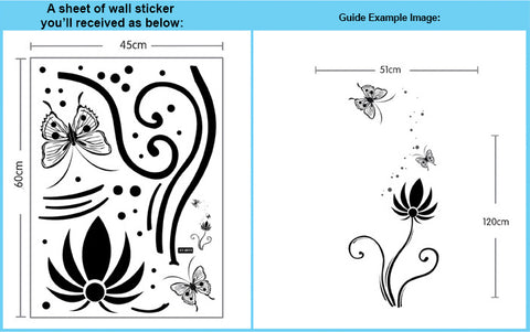Butterflies & Floral Wall Art  wall decals Removable Wall Sticker