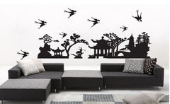Japanese Garden Silhouette Removable Wall Sticker Wall Art  wall decals