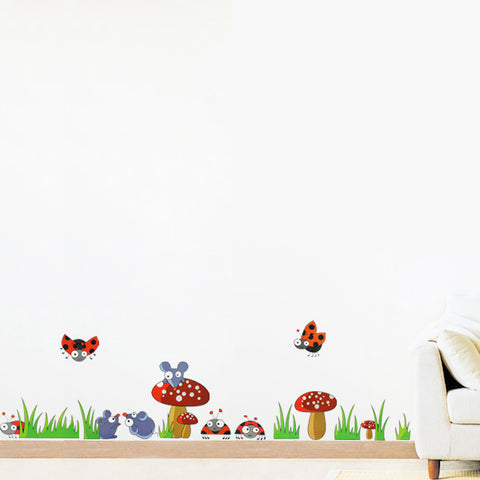 Ladybugs, Mushrooms Nursery wall decals Removable Wall Sticker