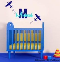 Personalised Name & 2 airplanes Removable wall sticker for kids / Nursery