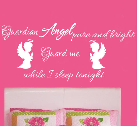 Guardian Angels and quote decal, removable wall sticker for kids or Nursery