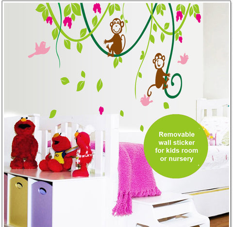 Monkey & Vine Removable Wall Sticker for Kids room