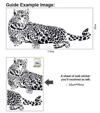 LEOPARD in Black wall decals  wall decals Removable Wall Sticker