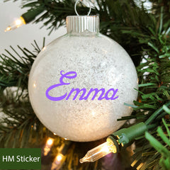 Personalised Name Christmas Ornaments Bauble Sticker