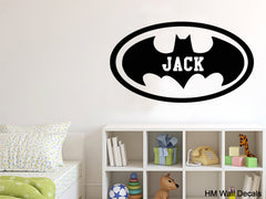 Batman inspiration Personalised name Removable Wall Art Sticker