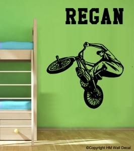 Personalised Boy BMX stunt Removable wall Sticker Removable