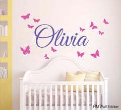 Butterfly & Personalised Name Wall Sticker Decal