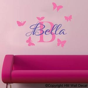 Personalised Name & butterflies in 2 colour ways Nursery or Kids room Removable wall sticker