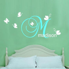Customise name & Butterflies Kids removable Wall Sticker Decal
