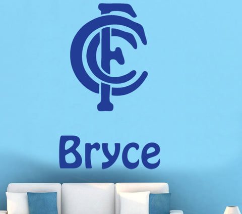 Personalised Name & AFL CARLTON Removable Wall Art Sticker Wall decal