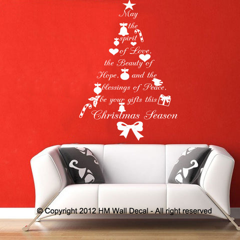 Quote Christmas Tree wall decal wall sticker, great gift
