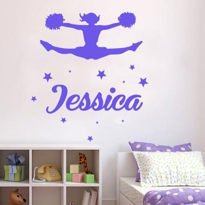 Customise name & cheerleader girl Kids / Nursery removable Wall Sticker Decal