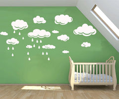 Clouds with Rain drops removable wall sticker