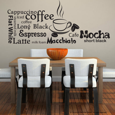 Coffee Quote Wall Stickers Vinyl Sign Decal HM Wall Decal