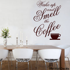 """Wake up and smell the coffee"" Removable  Wall Decal-wall art sticker"