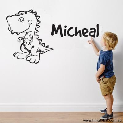 Dinosaur with Kids Personalised name removable Wall Art Sticker
