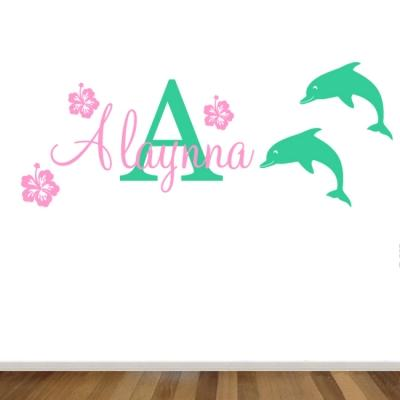 Personalised Name & Dolphin, Hibiscus, Nursery/ Kids room Removable wall sticker