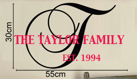 Personalised Family Name & established Year in 2 cloud ways Removable wall sticker