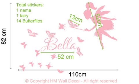Personalised Named & Fairy, Butterflies Removable Kids Wall Sticker