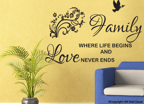 """FAMILY Where life begins and love never ends"" Quote Removable wall decal"