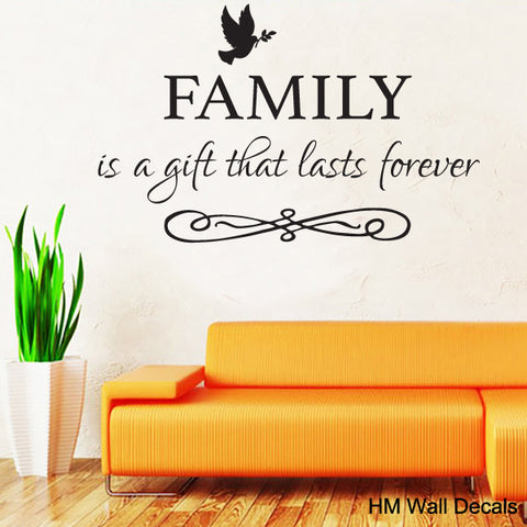 """FAMILY is a gift That last forever"" inspirational Quote Removable Wall Decal Wall Sticker"