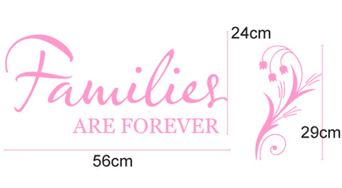 """Families are forever"" inspirational Quote Removable wall decal"