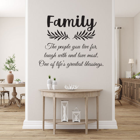 Family inspiration quote Removable Wall Art Decal