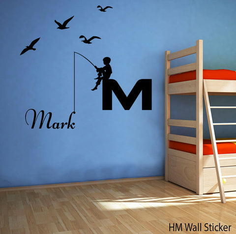 Boy fishing removable wall decal for kids or nursery