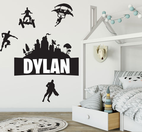Personalised name & Fortnite Game Removable Wall Art Sticker Wall decal Mural