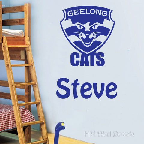 Customise Name & Geelong CAT Removable Wall Art Sticker Wall decal