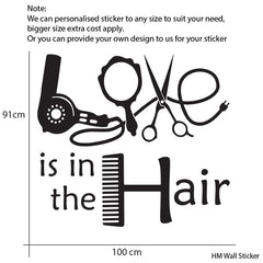 Love is in the Hair - HAIR & BEAUTY SALON - Wall Art Sticker Vinyl Decal