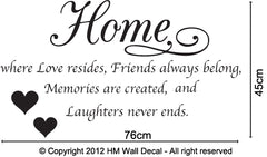 """Home is where Love resides…."" - Wall Quote Decal"