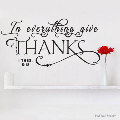 """  in everything give thanks "" removable wall sticker decal"