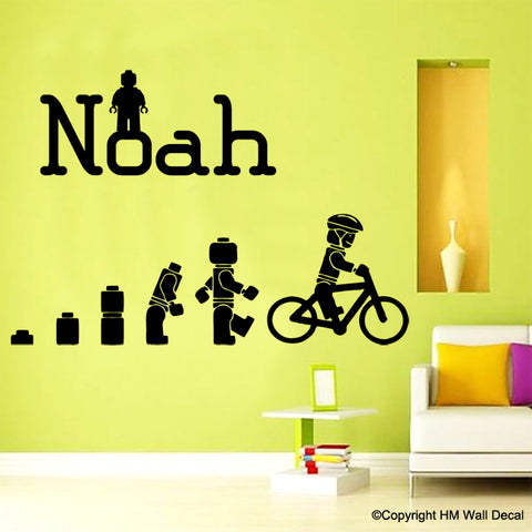 Evolution Of The Cycling Lego man Personalised Name Wall Art Sticker