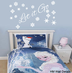 """ Let it Go"" Snow Queen Elsa's quote Removable Wall Art Decal Wall Sticker Mural"