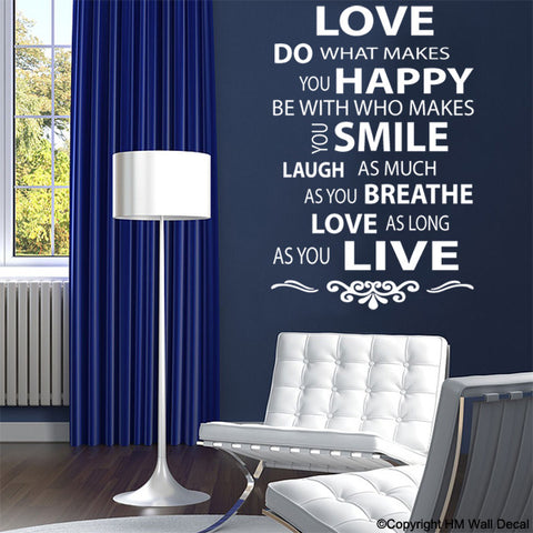 LIFE & LOVE QUOTE INSPIRATION DIY Removable Wall Decal Wall Sticker Mural