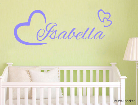 Love heart & Personalised name kids Wall Sticker Kids Room