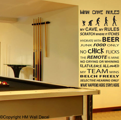 MAN CAVE Rule Removable Wall Decal Wall sticker Mural Wall Art