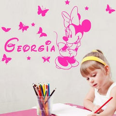 Customise name & Minnie Kids removable Wall Sticker Decal