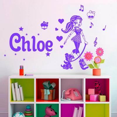 Personalised / Customise Name Monster High Kids / Nursery removable Wall Sticker Decal