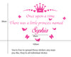 Image of Personalised Once Upon A time There was a little Princess Named Removable Kids Wall Sticker