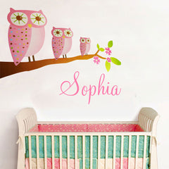 3 Pink Owls & Personalised name kids Wall Sticker Kids Room