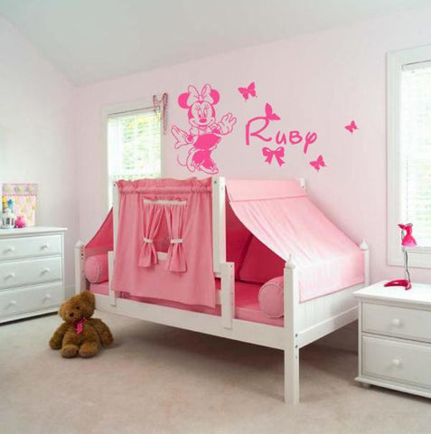 Customise Name & Minnie Removable kids wall sticker