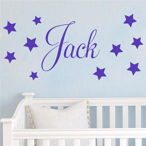 Personalised name and stars Nursery vinyl stickers