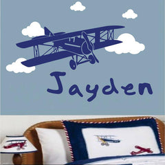 Personalised name and airplane removable Wall stickers