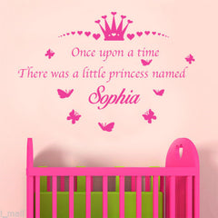 Personalised Once Upon A time There was a little Princess Named Removable Kids Wall Sticker