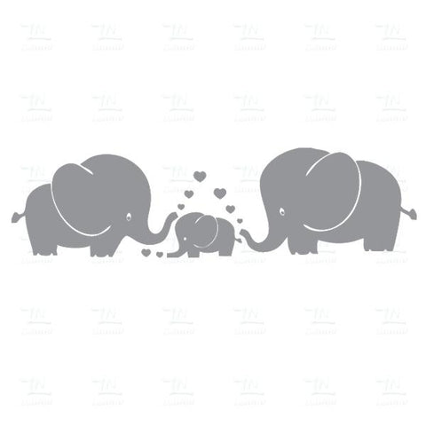 Cute Elephants Art Stickers