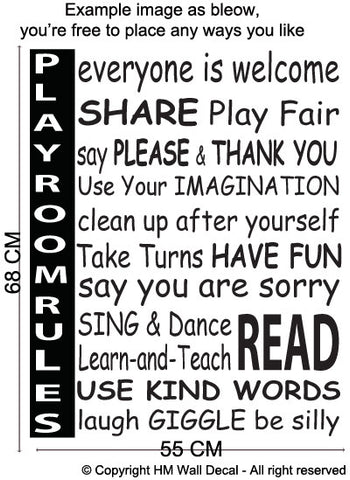 Playroom Rules Wall Art Decal for home or School and Kindergarden